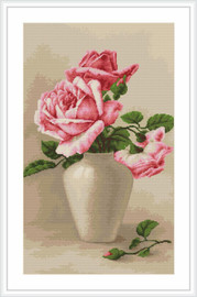 Pink Roses Petit Point Cross Stitch Kit By Luca S