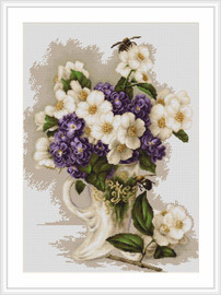 Vase with Jasmine Petit Point Cross Stitch Kit By Luca S