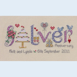 Silver Anniversary Cross Stitch Chart only By Nia