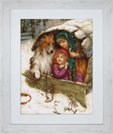 Winter Collie Petit Point Kit by Luca s
