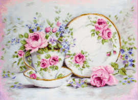 Trio with Blooms Counted Cross Stitch Kit by Luca S