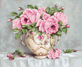 Pink Roses in Vase Counted Cross Stitch Kit by Luca S