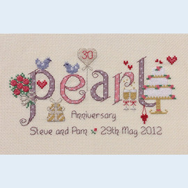 Pearl Anniversary Cross Stitch Chart only by Nia