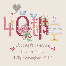 40th Wedding Anniversary Cross Stitch Chart only by Nia