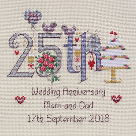 25th Wedding Anniversary Cross Stitch Chart only by Nia
