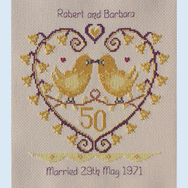 Golden Bells Anniversary Cross Stitch Chart only by Nia