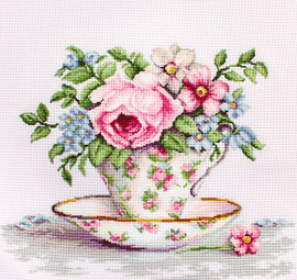 Blooms in a Teacup Counted Cross Stitch Kit by Luca-S