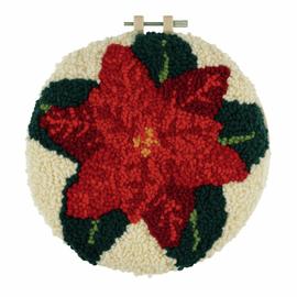 Punch Needle Kit: Yarn and Hoop: Poinsettia