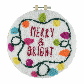 Punch Needle Kit: Yarn and Hoop: Merry & Bright By Trimits