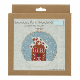 Punch Needle Kit: Floss and Hoop: Gingerbread House By Trimits
