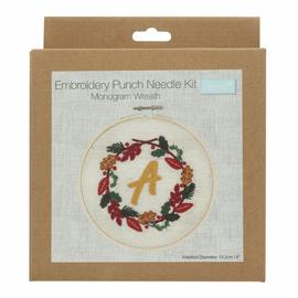Punch Needle Kit: Floss and Hoop: Monogram Wreath