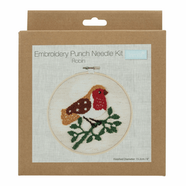 Punch Needle Kit: Floss and Hoop: Robin By Trimits