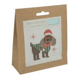 Counted Cross Stitch Kit: Festive Hound By Trimits