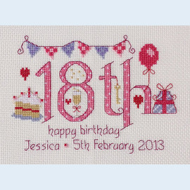 18th Birthday Cross Stitch Chart only By Nia