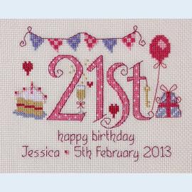 21st Birthday Cross Stitch Chart only