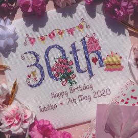 30th Birthday Cross Stitch Chart only