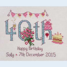 40th Birthday Cross Stitch Chart only By Nia