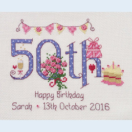 50th Birthday Cross stitch Chart only By Nia