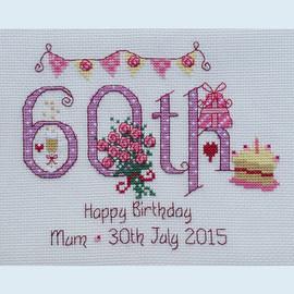 60th Birthday Cross Stitch chart only