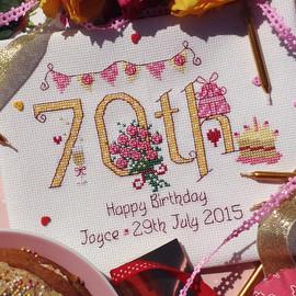 70th Birthday Cross stitch Chart only