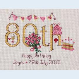 80th Birthday Cross Stitch Chart only