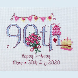 90th Birthday Cross Stitch Chart only