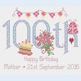 100th Birthday Cross Stitch Chart only