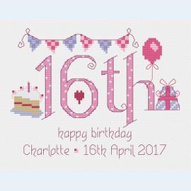16th Birthday Cross Stitch Chart only