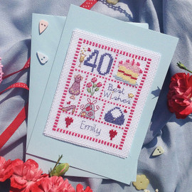 Female Sampler Cross Stitch Card Chart only