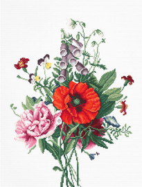 Bouquet with Poppy and Peony Counted Cross Stitch Kit by Luca S