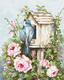 Birdhouse with Roses Cross Stitch Kit by Luca S