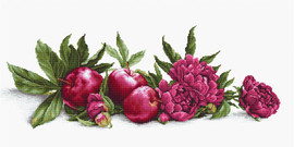 Peonies and Red Apples Counted Cross Stitch Kit By Luca S