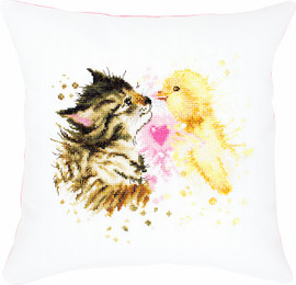 Kitten and Duckling Pillow Counted Cross Stitch Kit By Luca S
