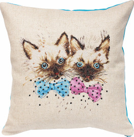 Cats Pillow Counted Cross Stitch Kit By Luca S