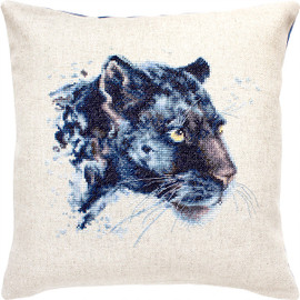 Panther Pillow Counted Cross Stitch Kit By Luca S