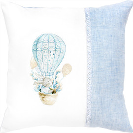 Bunny Balloon Pillow Counted Cross Stitch Kit By Luca S