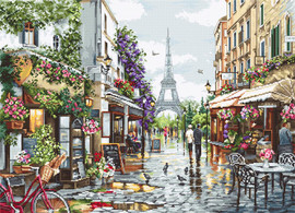 Paris in Flowers Counted Cross Stitch Kit By Luca S