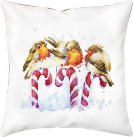 Three Robins Pillow Counted Cross Stitch Kit By Luca S