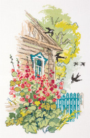 Hollyhocks Under the Window Counted Cross Stitch Kit By Panna