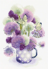 Purple Allium Counted Cross Stitch Kit By Riolis