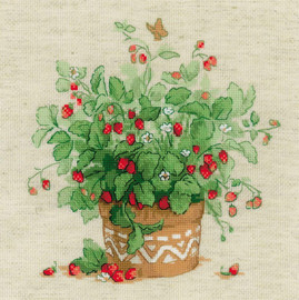 Strawberries in a Pot Counted Cross Stitch Kit Riolis