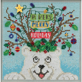 Beary Merry Christmas Buttons and Beads Counted Cross Stitch Kit By Mill Hill
