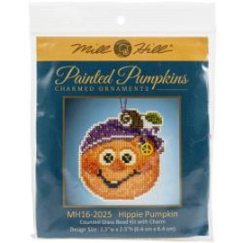 Hippie Pumpkin Buttons And Beads Counted Cross Stitch Ornament Kit by Mill Hill