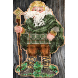 Ireland Santa Buttons And Beads Counted Cross Stitch Kit By Mill Hill