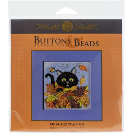Playful Cat Buttons And Beads Counted Cross Stitch Kit By Mill Hill