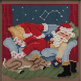 Godd Night Santa Beads Counted Cross Stitch Kit By Mill Hill Buttons