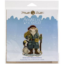 Penguin Santa Buttons And Beads Counted Cross Stitch Kit By Mill Hill