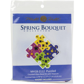 Puzzled Cross stitch and Beading kit by Mill Hill