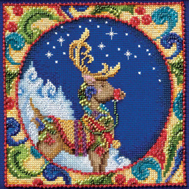 Reindeer Cross Stitch And Beading Kit by Mill Hill