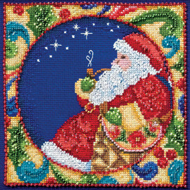 Santa Cross Stitch and Beading Kit by Mill Hill